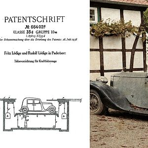 "Ten years before ""Dipl.-Ing. A. Lödige Maschinenfabrik"" was founded, two Lödige brothers had already submitted a patent for lifting cars."